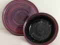plate bowl pink black